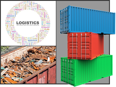 Train Car and Shipping Containers, Logistics Graphic